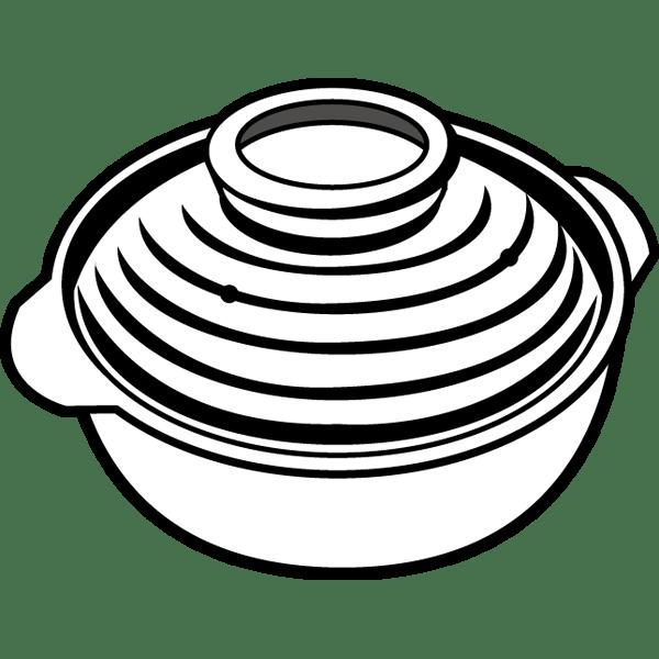家庭・生活 鍋(土鍋)(モノクロ)