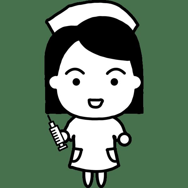 医療 看護師(ナース・キャラクター風)(モノクロ)