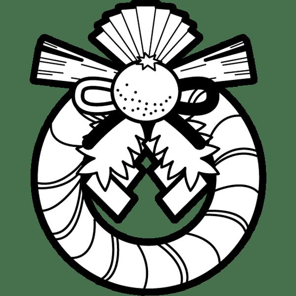 年中行事 しめ縄飾り正月飾りモノクロ 無料イラスト