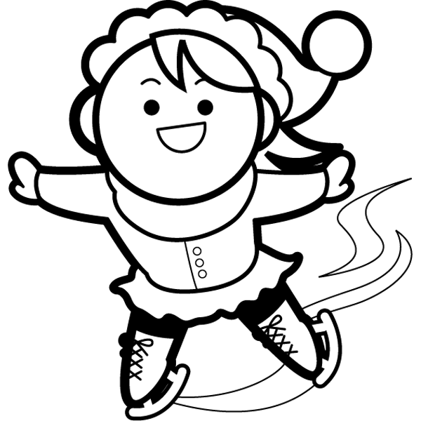 年中行事 アイススケート(女の子)(モノクロ)