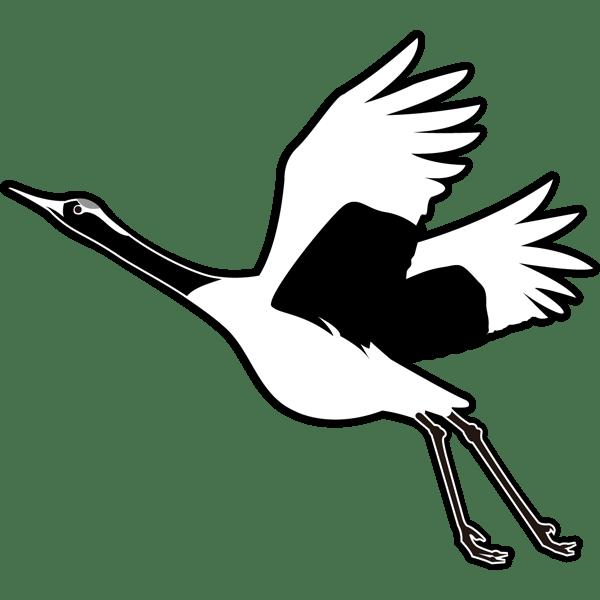 動物 鶴(つる)(モノクロ)