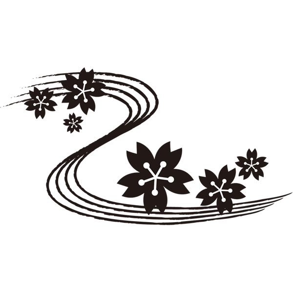 年中行事 桜の花びらと川(モノクロ)