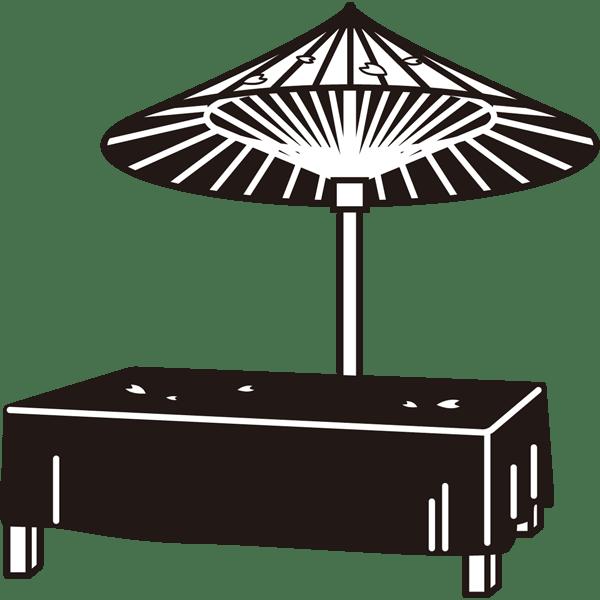 年中行事 休憩所(モノクロ)
