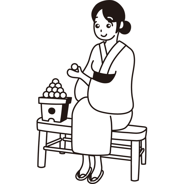 年中行事 お月見団子と女性(モノクロ)
