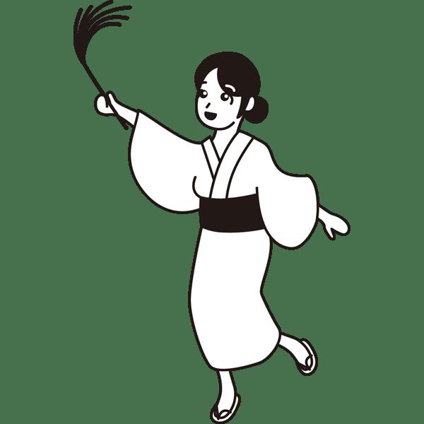 年中行事 ススキと女性(モノクロ)