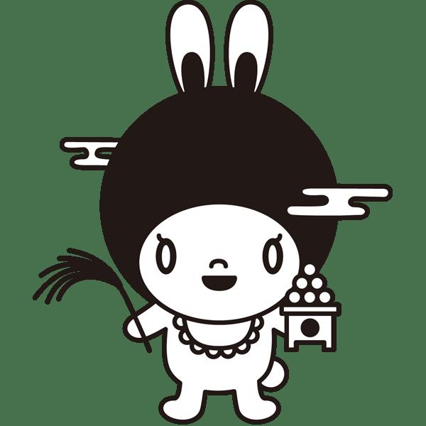 年中行事 お月見のキャラクター(モノクロ)