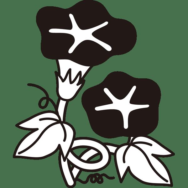 植物 あさがお(モノクロ)