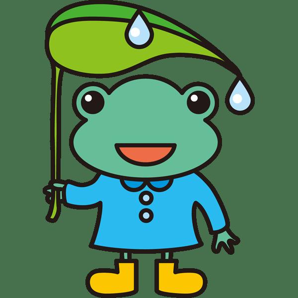 年中行事 カエル(葉っぱ・傘)(カラー)