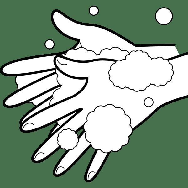 学校 手洗いイラスト(モノクロ)