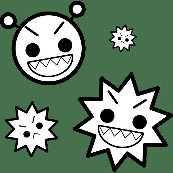 学校 ばい菌(細菌)(モノクロ)