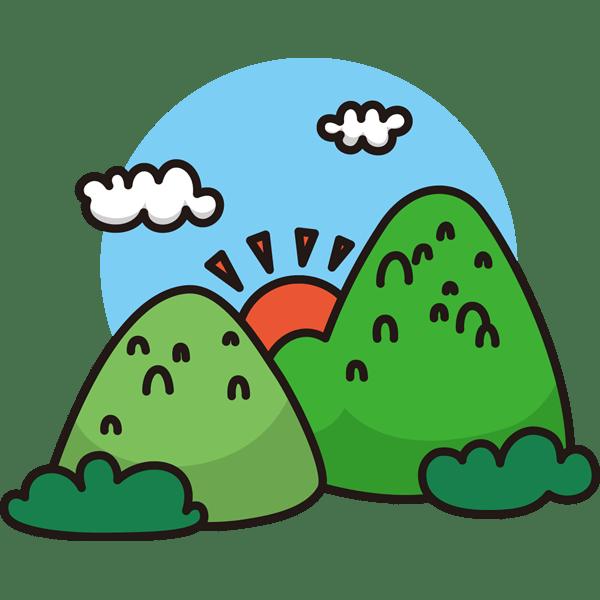 自然 山山と太陽カラー 無料イラストpowerpointテンプレート