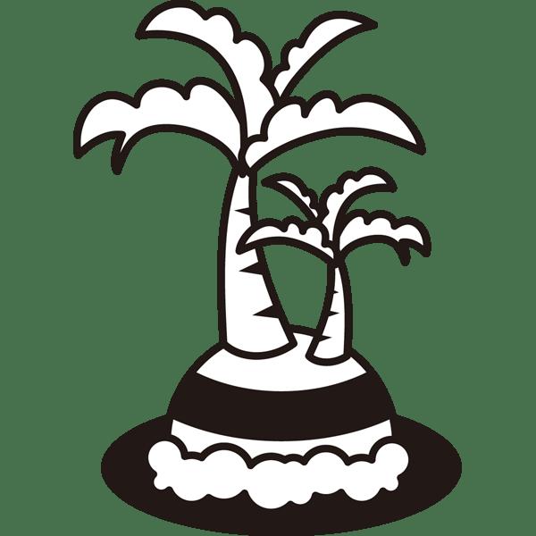 自然 海ヤシの木島モノクロ 無料イラストpowerpoint