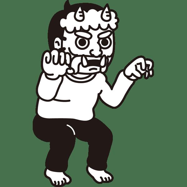 年中行事 鬼(お父さん)(モノクロ)