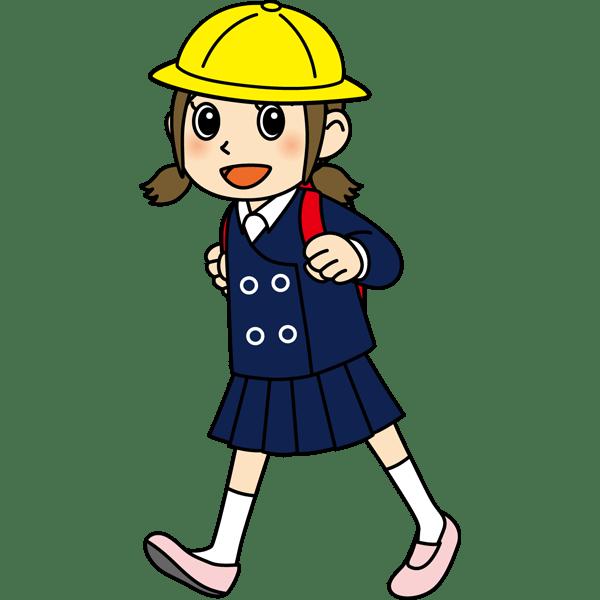 学校 女子生徒(登校中の女の子)(カラー)