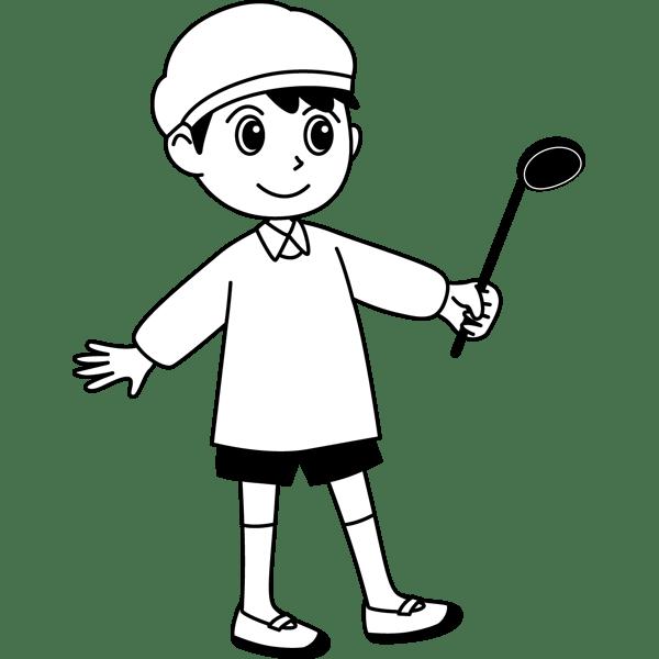 学校 男子生徒(給食当番の男の子)(モノクロ)
