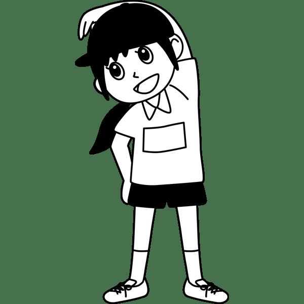 学校 女子生徒体操着の女の子モノクロ 無料イラスト