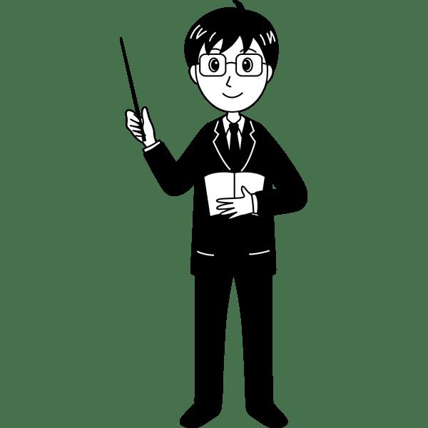 学校 教師(男性の先生)(モノクロ)