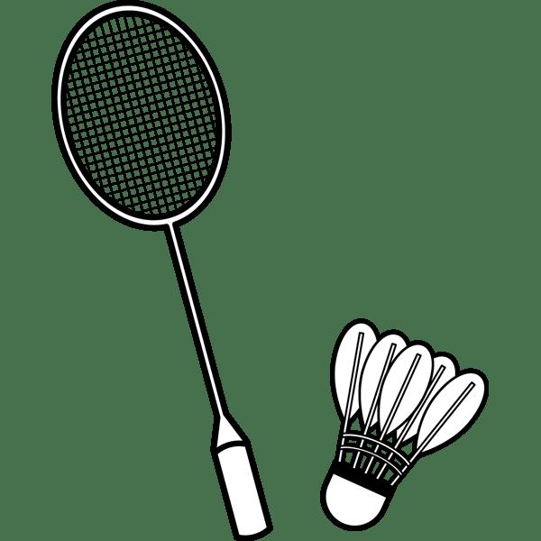 スポーツ バドミントン(ラケット・シャトル)(モノクロ)
