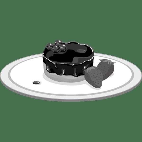年中行事 チョコケーキ(ベイクドショコラ・イチゴ)(モノクロ)