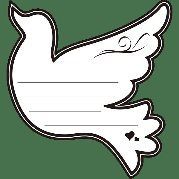 年中行事 メッセージカード(ハト)(モノクロ)