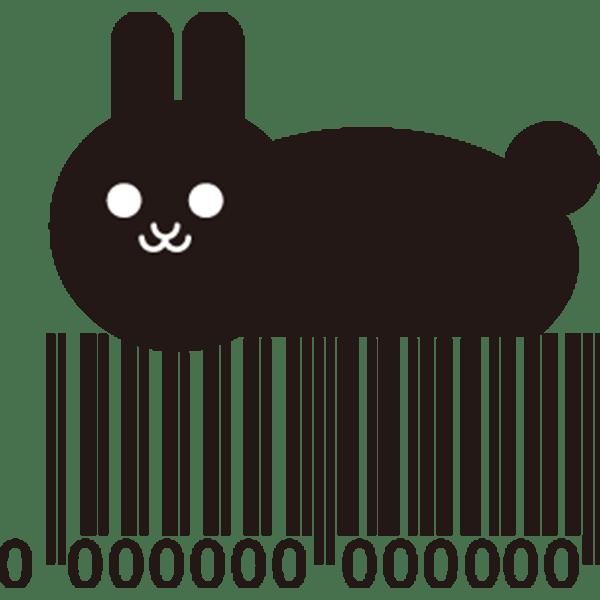 動物 うさぎ(バーコード)(モノクロ)