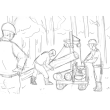 スケッチ画 林業