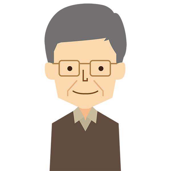 人物 男性おじいさん笑顔 無料イラストpowerpointテンプレート