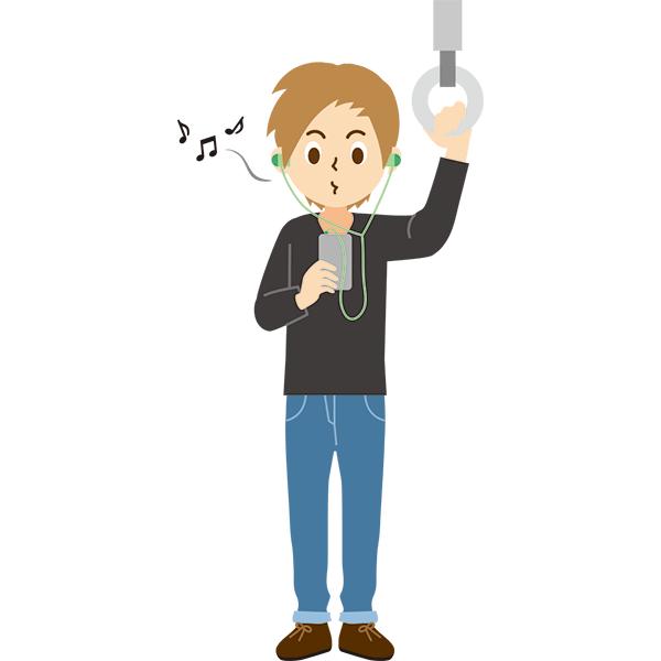電車内 音楽を口ずさむ男性 無料イラストpowerpointテンプレート配布
