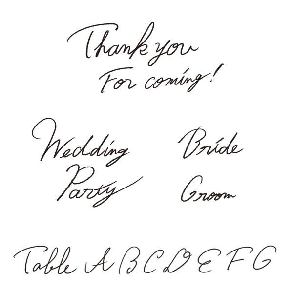 ウェディングのペーパーアイテムやDIYなどに使える、手書き文字のクリップアートです。 ラフなラインの細い手書き文字です。 以下の文字をそれぞれ背景透過したPNG画像