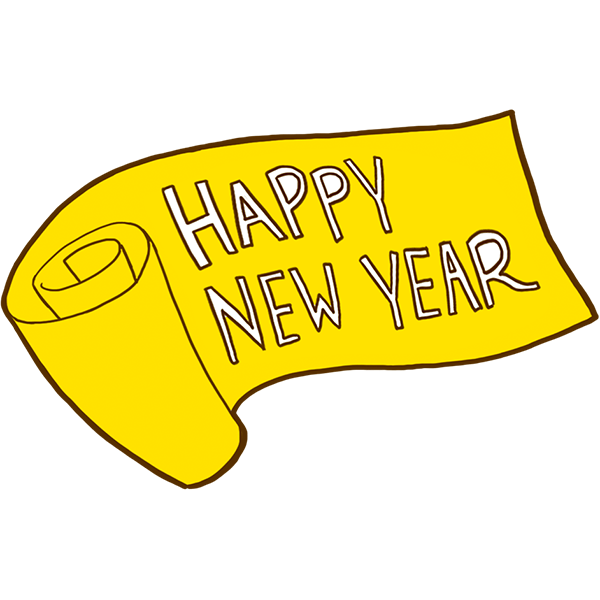 Happy New Year 巻物 無料イラストpowerpointテンプレート配布サイト