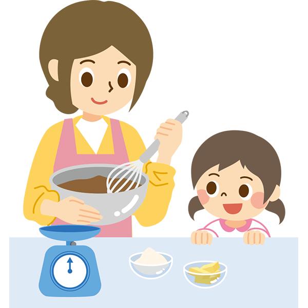 お菓子を作る親子1 無料イラスト Powerpointテンプレート配布サイト 素材工場