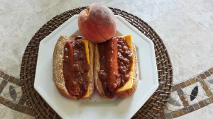 2 Chili Dogs with a Peach on Top!