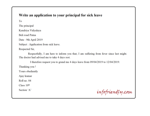 Write an application to your principal for sick leaves
