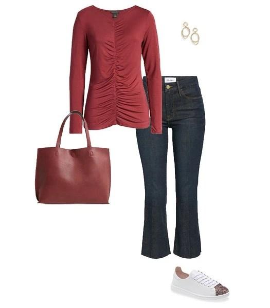 Idea de traje de jeans bootcut |  40plusstyle.com