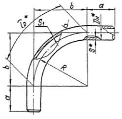 Колена гнутые ОСТ 34 10.750-97 90 град. чертеж