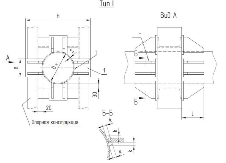 Опоры неподвижные лобовые четырехупорные Т5 серия 4.903-10 выпуск 4 тип 1