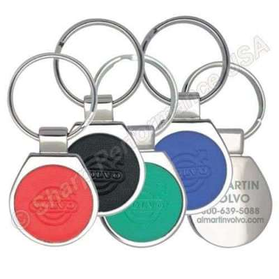 K4011 Custom round metal keychain with color leather ebmossed logo