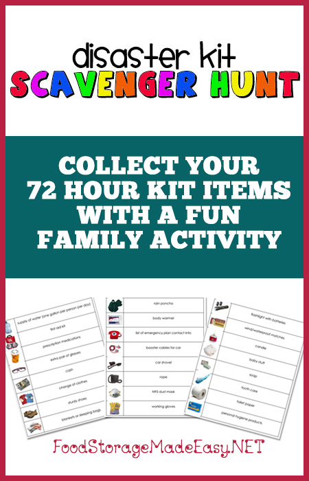 Disaster Kit Scavenger Hunt - Get the whole family involved