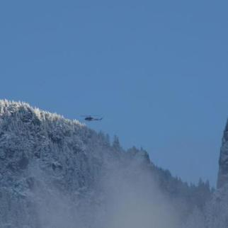 Gaurdian 2 above high, steep Mt. Si peaks.  KC Search and Rescue Facebook page.