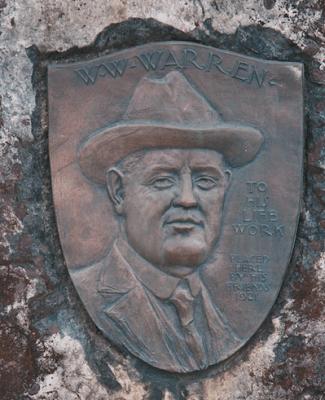 Bronze memorial to W.W. Warren