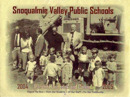 Cover of the 2004/05 SVSD School calendar. Photo was taken during the groundbreaking ceremony for Cascade View ES in June 2004. The school was built by the last SVSD construction bond to pass, 10 years ago.. In the bottom right hand corner are my then 2 and 5 year old children.