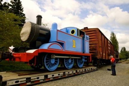 Thomas the Train arriving at the North Bend Railway Depot on Friday, July 5, 2013