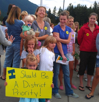 SVSD teacher rally on 8/23/2013 at Twin Falls Middle School.  Photo from SVEA webstie