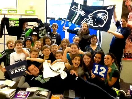Twin Falls MS teacher, Mr. Wallace (huge Seahawks fan) and his students showing off their spirit!