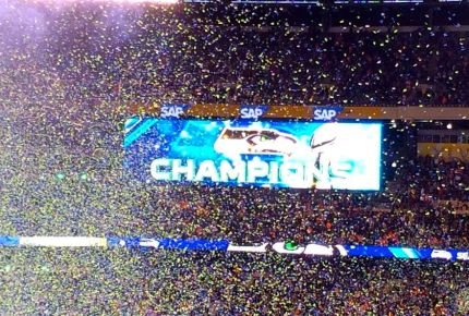 Confetti flying at the 2014 Super Bowl proclaiming the Seahawks Champions.  Photo by: Andrea Heuston
