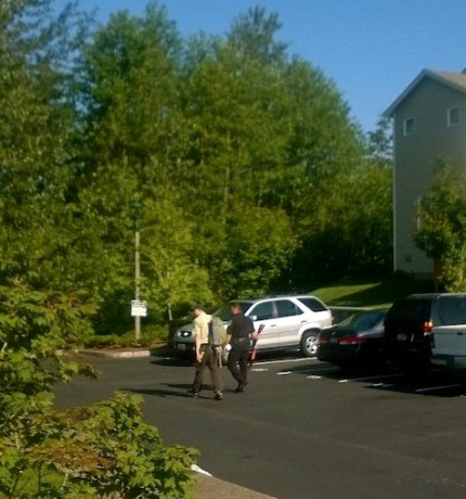 Police and Fish and Wildlife officers respond to bear sighting near Mt. Si Cottages on Snoqualmie Ridge, 6/2/14. Photo: Megan Roberts