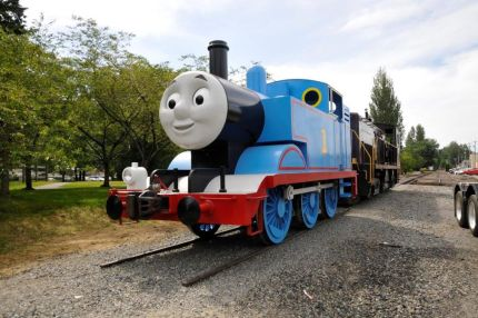 Thomas arrives in the Snoqualmie Valley for his summer 2014 tour stop.