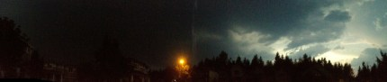 Almost full circle panorama of Snoqualmie skies before thunder and lightning started on Aug. 11, 2014