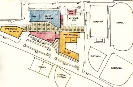 Schematic drawing of possible MSHS rebuild presented to school board by NAC Architects on 9/11/14