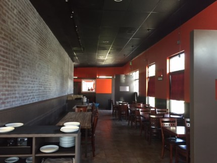 New seating occupies  a wall once home to a long ingredient bar used at the former Mongolian Grill.